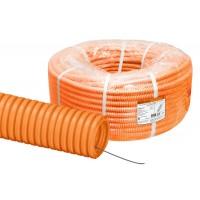 Труба гофр. ПНД d 40 с зондом (25 м) легкая оранжевая TDM