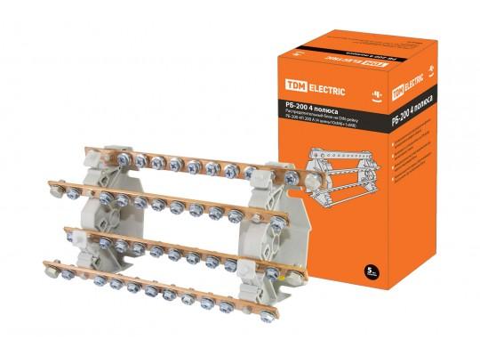 Распределительный блок на DIN-рейку РБ-200 4П 200А (4 шины 10xM6+1хM8) TDM